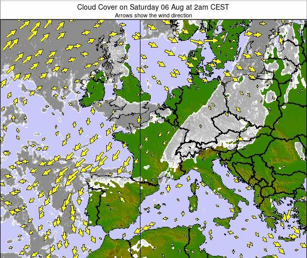 Netherlands Cloud Cover on Saturday 25 May at 8am CEST map