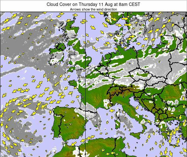 France Cloud Cover on Sunday 26 May at 8am CEST