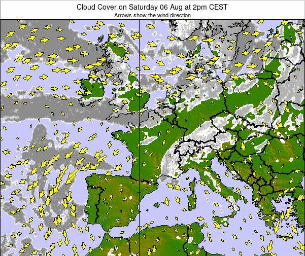 France Cloud Cover on Tuesday 28 May at 2pm CEST