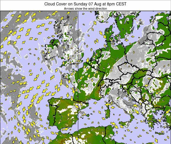 France Cloud Cover on Tuesday 18 Mar at 1pm CET