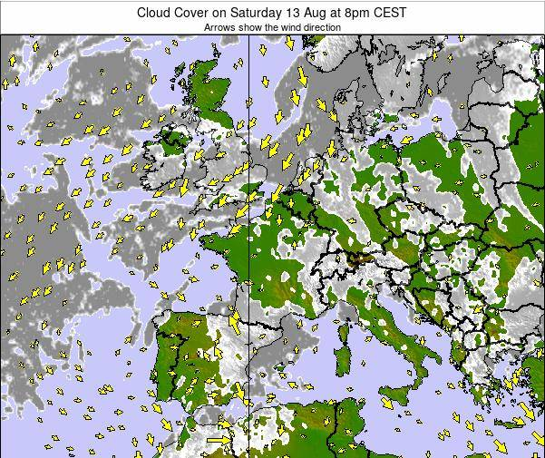 France Cloud Cover on Thursday 31 Jul at 2pm CEST