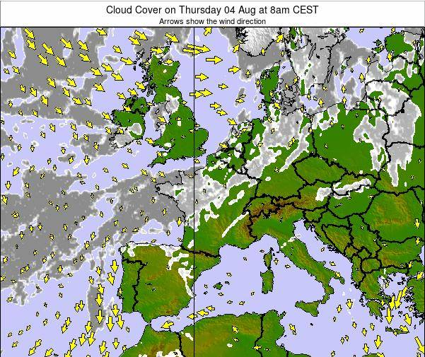 France Cloud Cover on Saturday 25 May at 8am CEST