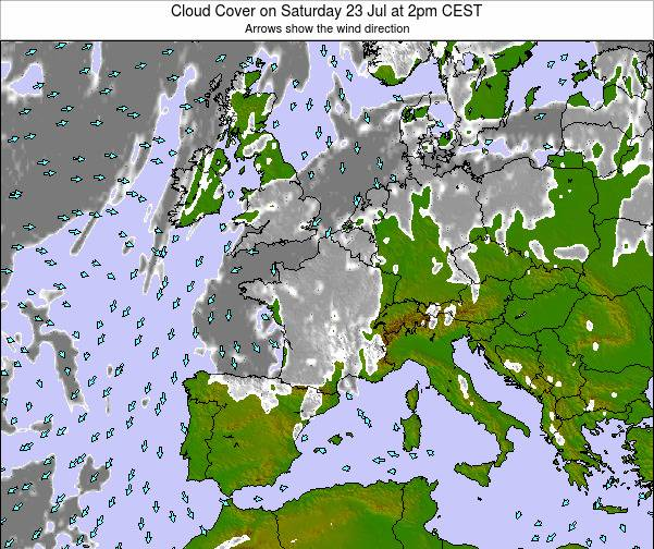 France Cloud Cover on Thursday 19 Dec at 1am CET