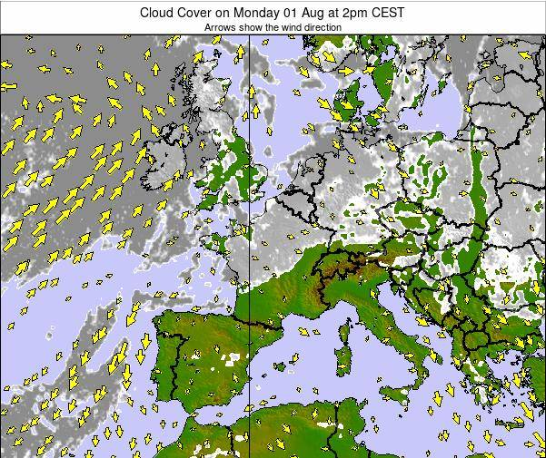 Switzerland Cloud Cover on Saturday 25 May at 2am CEST map