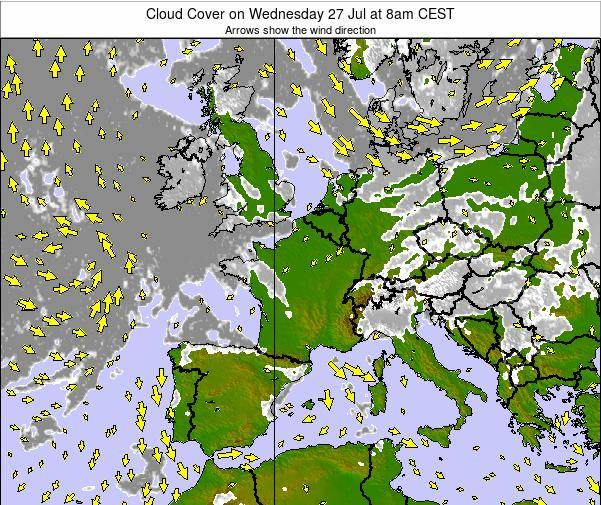 France Cloud Cover on Saturday 25 May at 2pm CEST