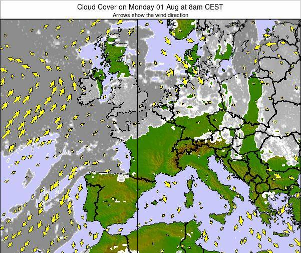 Map Of France Weather.France Cloud Cover On Wednesday 24 Apr At 8am Cest