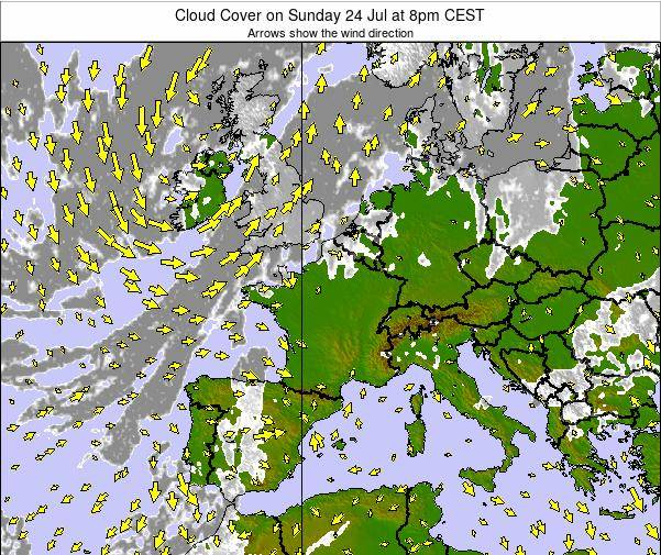 France Cloud Cover on Friday 24 May at 2pm CEST