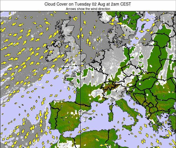France Cloud Cover on Saturday 03 Sep at 8am CEST