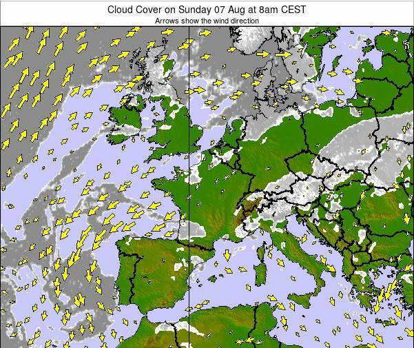 France Cloud Cover on Monday 27 May at 2pm CEST