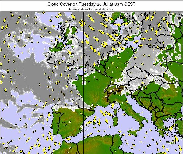 France Cloud Cover on Friday 25 Apr at 8am CEST