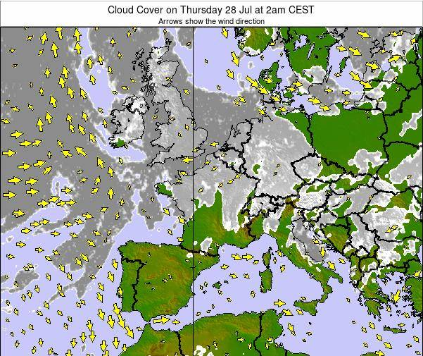 France Cloud Cover on Saturday 26 Apr at 8pm CEST