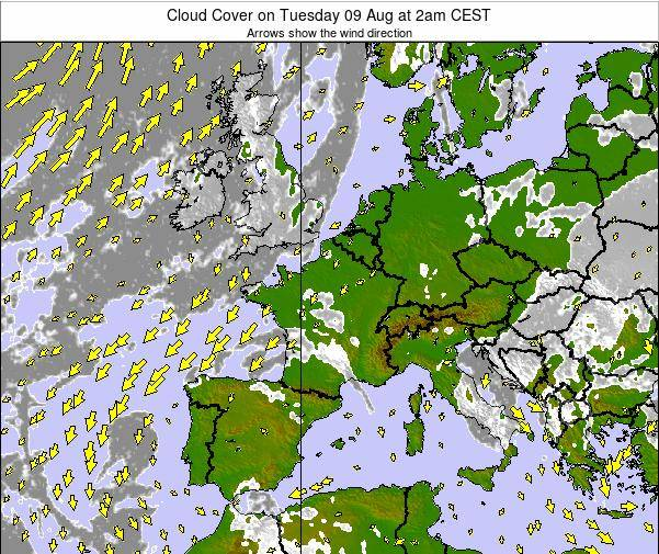 France Cloud Cover on Wednesday 12 Mar at 1pm CET