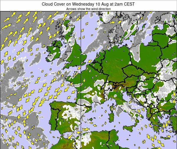 France Cloud Cover on Tuesday 13 Dec at 1pm CET