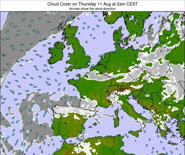 France Cloud Cover on Saturday 23 Aug at 8pm CEST