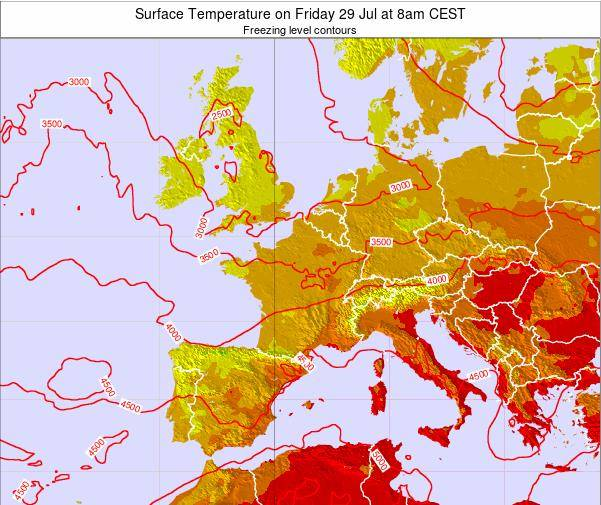 France Surface Temperature on Monday 27 May at 8am CEST map
