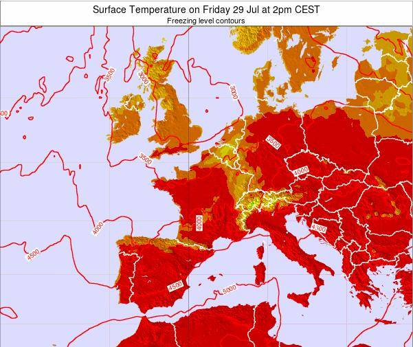 France Surface Temperature on Thursday 30 May at 2am CEST map
