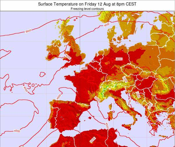 France Surface Temperature on Monday 27 May at 2am CEST map
