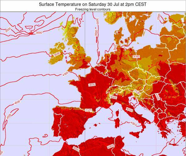 France Surface Temperature on Thursday 20 Jun at 8pm CEST map