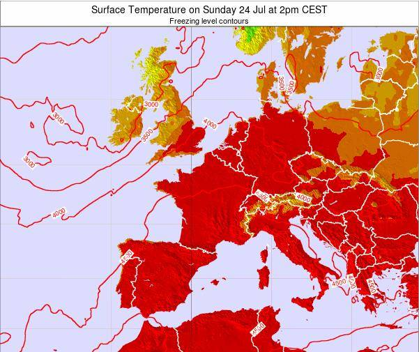 Map Of France 1500.France Surface Temperature On Thursday 20 Jun At 2pm Cest