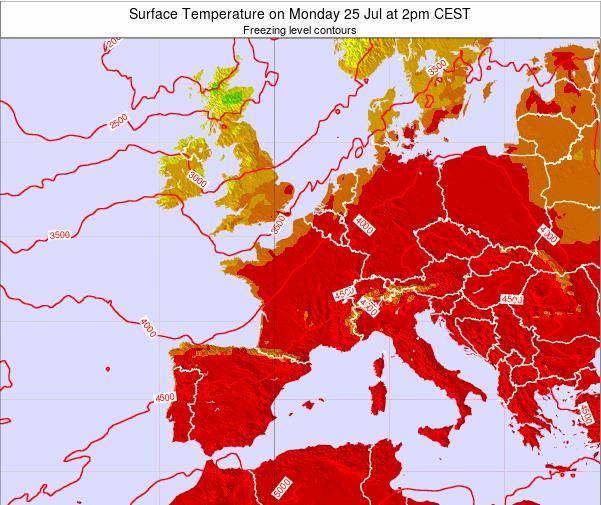 France Surface Temperature on Saturday 22 Jun at 8am CEST map