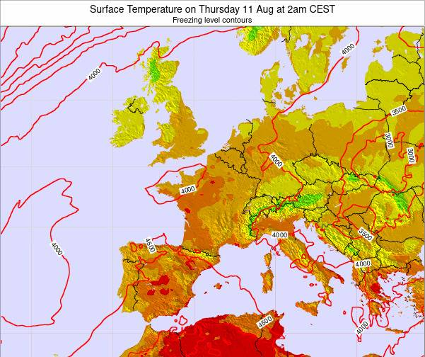 France Surface Temperature on Saturday 25 May at 8pm CEST