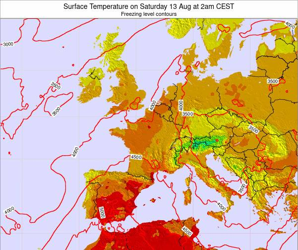France Surface Temperature on Thursday 23 May at 8am CEST map