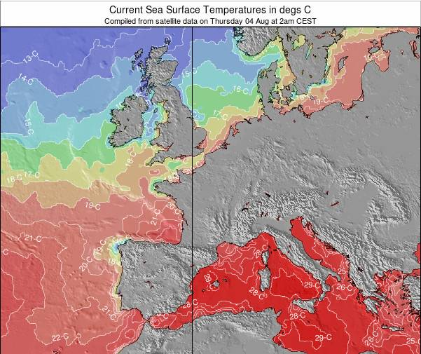 France Zeetemperatuur Kaart