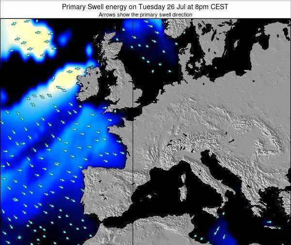 France Primary Swell energy on Sunday 26 Mar at 7am CET