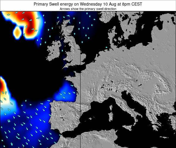 Belgium Primary Swell energy on Monday 04 Aug at 2pm CEST