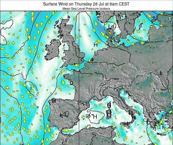 Luxembourg Surface Wind on Sunday 23 Jun at 2pm CEST map