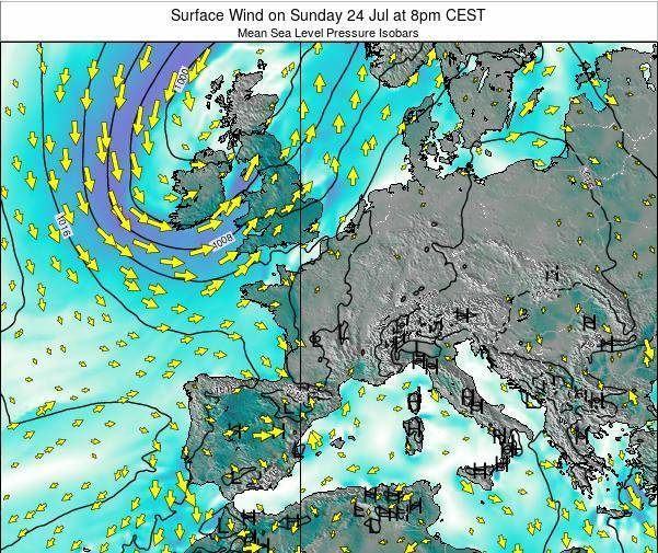 Belgium Surface Wind on Tuesday 21 May at 2pm CEST map