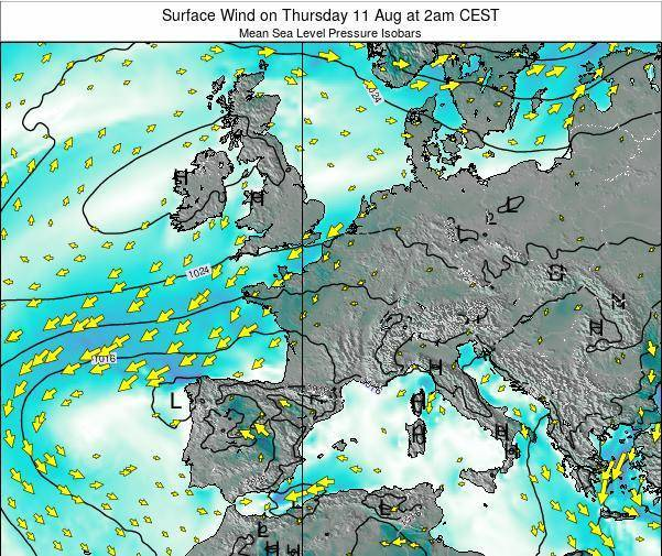 Luxembourg Surface Wind on Thursday 30 May at 8pm CEST map