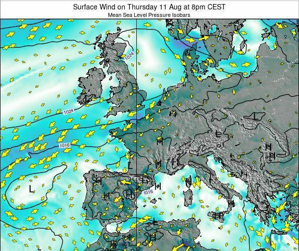 Luxembourg Surface Wind on Monday 28 Apr at 8pm CEST map