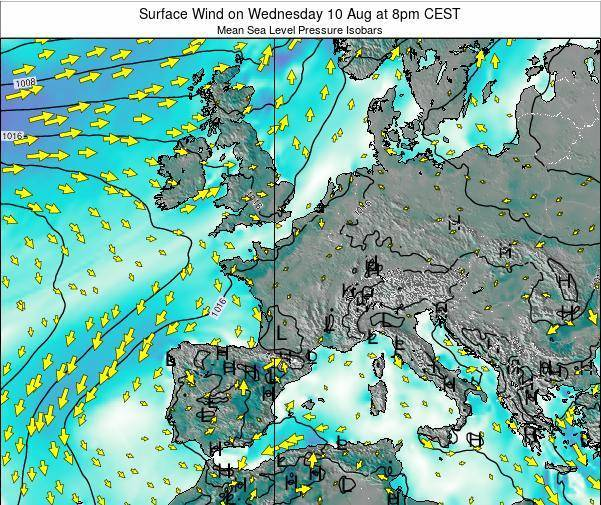 Luxembourg Surface Wind on Thursday 07 Aug at 2pm CEST map
