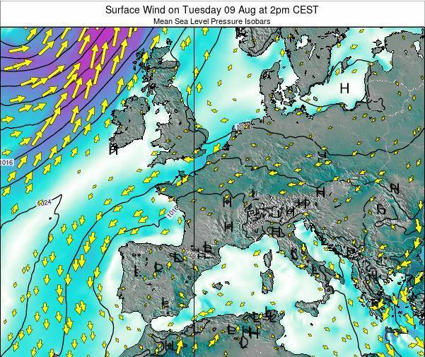 Luxembourg Surface Wind on Tuesday 18 Mar at 7am CET map