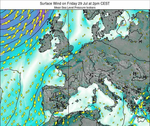 Luxembourg Surface Wind on Sunday 16 Mar at 1am CET map
