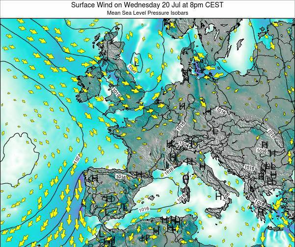 Luxembourg Surface Wind on Thursday 24 Apr at 8am CEST map