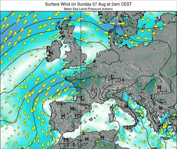 Luxembourg Surface Wind on Monday 28 Jul at 2pm CEST map