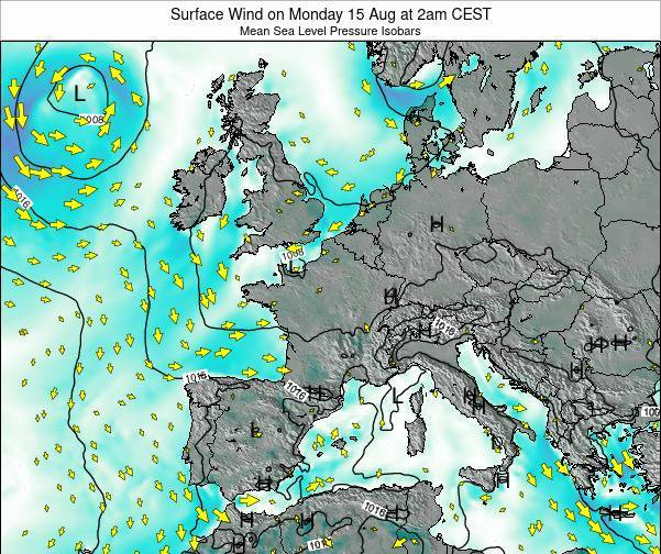 Luxembourg Surface Wind on Sunday 16 Mar at 1pm CET map