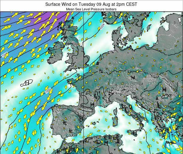 Luxembourg Surface Wind on Monday 16 Dec at 7am CET map