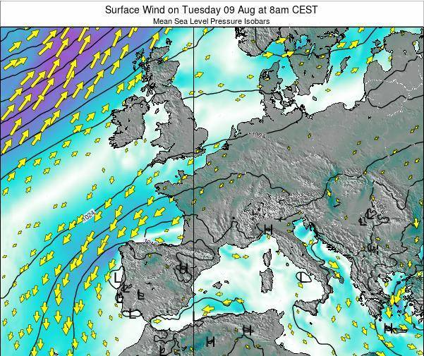 Luxembourg Surface Wind on Friday 24 May at 8pm CEST map