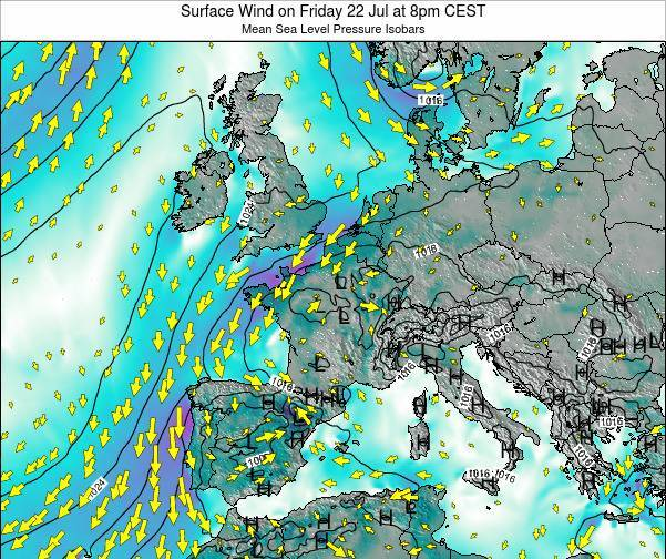 Luxembourg Surface Wind on Wednesday 30 Jul at 2pm CEST map