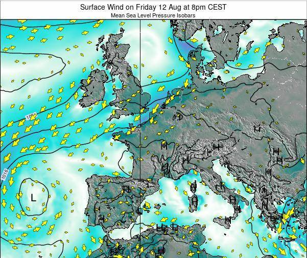 Luxembourg Surface Wind on Tuesday 05 Aug at 8pm CEST map