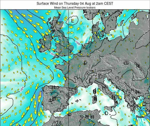 France Surface Wind on Thursday 19 Dec at 1pm CET