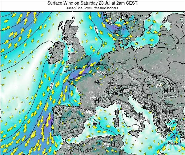 France Surface Wind on Monday 17 Mar at 7pm CET