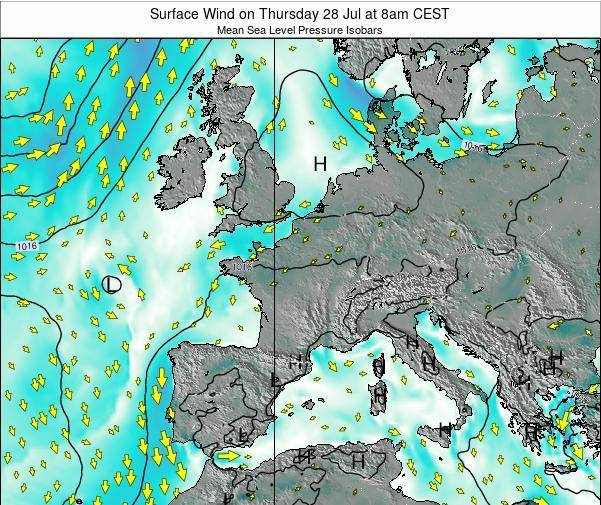 France Surface Wind on Monday 04 Aug at 8am CEST