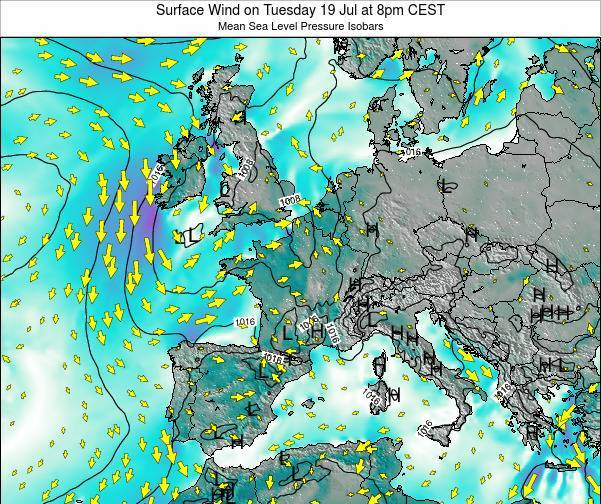 France Surface Wind on Saturday 01 Jun at 2am CEST
