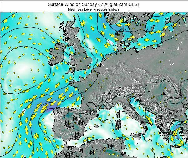 France Surface Wind on Thursday 12 May at 2pm CEST