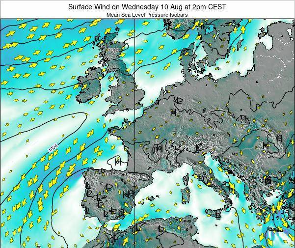 France Surface Wind on Thursday 31 Jul at 8am CEST