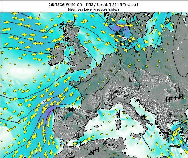 France Surface Wind on Saturday 03 Sep at 8pm CEST